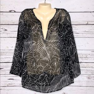 Additions by Chico's 1 M 8/10 Palm Leaf Blouse